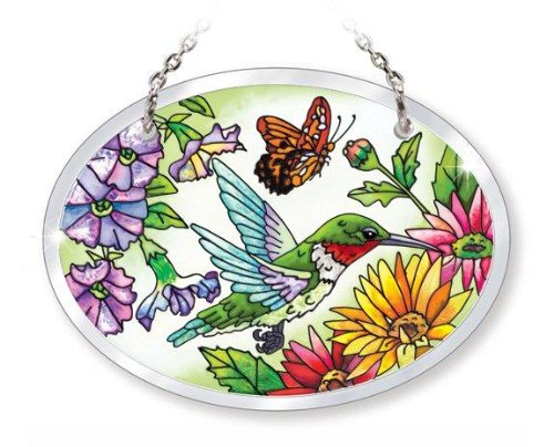 Amia Beveled Glass Small Oval Suncatcher Hand-Painted Butterfly Design, 4-3/4 by 3-1/2-Inch