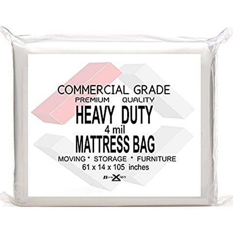 BasiX365 Commercial Grade Mattress Bag for Moving, Storage, Bed Bugs Control, and Furniture covering. Heavy Duty 4-Mil Extra Large Queen Size Protector for Pillow Top Mattresses and Furniture (1 Pack)