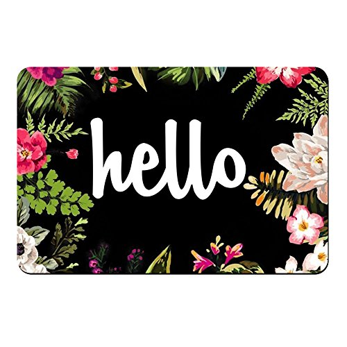 Hello Flowers Doormat Entrance Mat Floor Mat Rug Indoor/Front Door/Bathroom Mats Rubber Non Slip (30