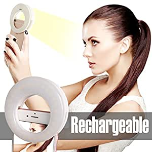 Ring Light for Camera [Rechargable Battery]Selfie LED Camera Light [36 LED] for iPhone iPad Sumsung Galaxy Photography Phones, White