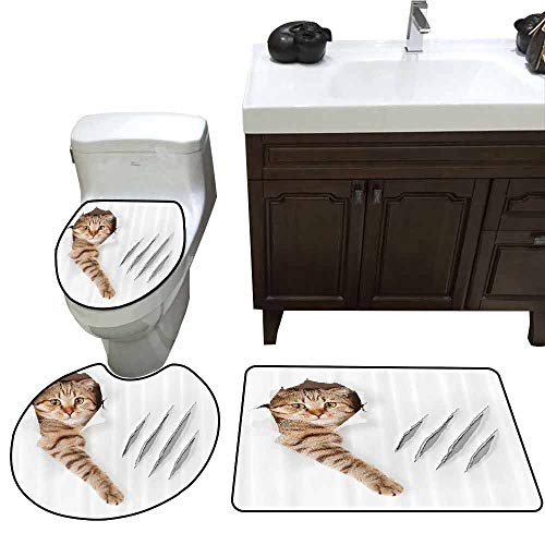 3 Piece Extended Bath mat Set Animal Funny Cat in Wallpaper Hole with Claw Scratches Playful Kitten Cute Pet Picture Printed Rug Set Brown White -