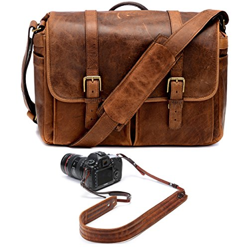 ONA Brixton Camera/Laptop Messenger Bag (Leather, Antique Cognac) and Presidio Crossbody Leather Camera Strap by Ona