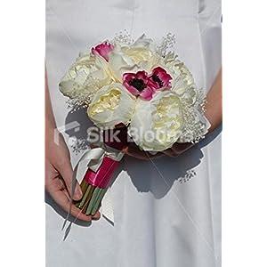 Stunning Ivory Peony, Pink Anemone & Dried Gypsophila Bouquet 119