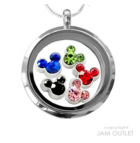 Living Memory 30mm RoundGlass Locket Pendant Set, CRYSTAL MOUSE Floating Charms, Sterling Plated - Roundglasses