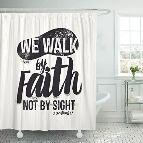 TOMPOP Shower Curtain Jesus Biblical Christian Lettering We Walk By Faith Not Sight 2 Corinthians 5 7 Quote Bible Waterproof Polyester Fabric 72 x 72 inches Set with Hooks by TOMPOP