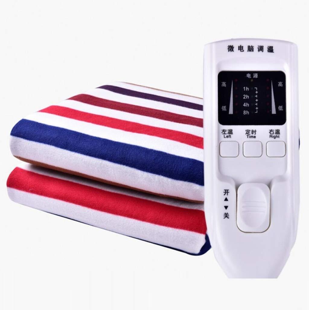 ZXY Heizdecken Elektrische Decke der Doppelten Kontrolle, elektrische erhitzte Decke, weiche gepaßte unter Decke mit erhitzter Decke Steuerpult Decke, Timer-Funktionalität Heizdecke,Stripe_180x200cm