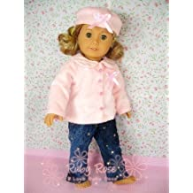 "** RUBY ROSE ** Vintage Jeans & Pink Fluffy Winter Coat and Hat (3 pcs) ~ Fits 18"" American Girl Dolls"
