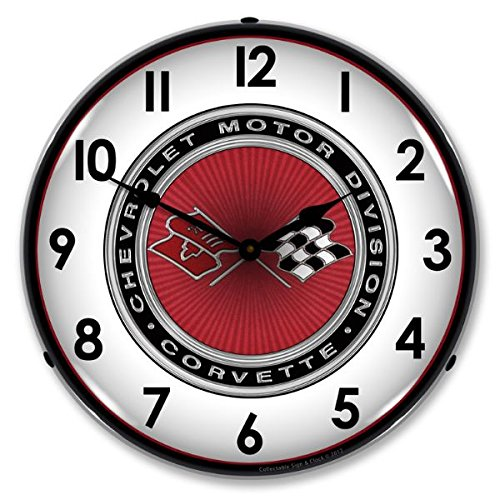 New C3 Corvette Retro Vintage Style Advertising Backlit Lighted Clock - Ships Free Next