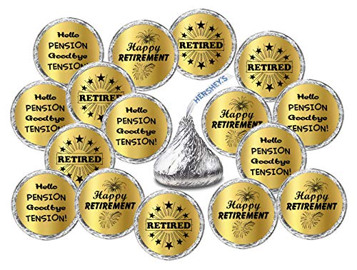 (Gold Foil Retirement Kisses Stickers, (Set of 216) Chocolate Drops Labels Stickers for Happy Retirement Party, Hershey's Kisses Party Favors Decor)
