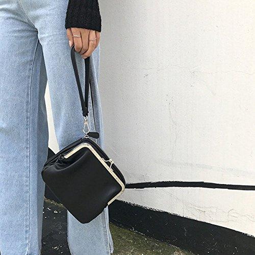 AASSDDFF Mujeres Messenger Bag Mujeres Retro Kiss Lock Hombro Crossbody Bolsas Chic Pu Mujer Clutch Mini Bolso,Marrón Negro