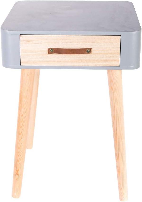 The Home Deco Factory HD Mesilla de noche con cajón (de madera de tablero de fibra de densidad media, tablero DM, gris, 35x35x48 cm