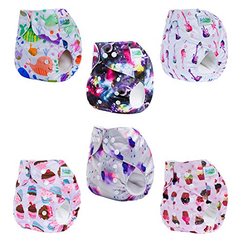 AnAnBaby Baby Cloth Diaper Covers Reusable Washable Pocket Diaper 6pcs + 6 Inserts (Girl Color-2)