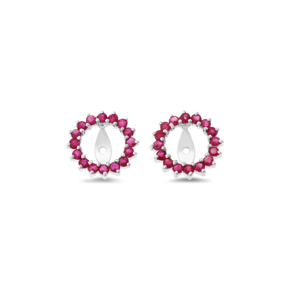 0.83CTW 14K White Gold Genuine Natural Ruby Round Shaped Earrings Jacket