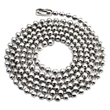 100pcs Nickel Plated Ball Chain Necklace, 24 Inches Long 2.4mm Bead Size # 3 Metal Bead Steel Chain, Military Bead Chain, Dog Tag Necklace by Special100%