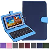 "HDE Diamond Stitch Univeral Hard Leather Folding Folio Case Cover with Micro USB Keyboard for 7"" Tablet (Blue)"