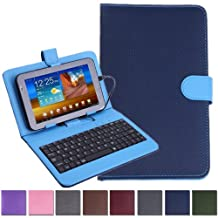 """HDE Diamond Stitch Univeral Hard Leather Folding Folio Case Cover with Micro USB Keyboard for 7"""" Tablet (Blue)"""