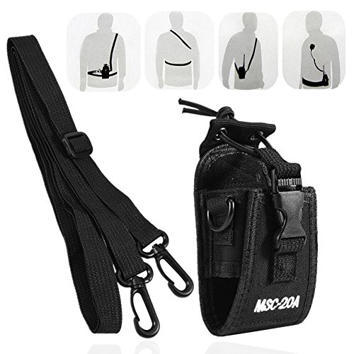 Zerone Universal Walkie Talkie Nylon Belt Case Bag with Adjustable Shoulder Strap Two Way Radio Holder Holster Case MSC-20A For Kenwood/Motorola/HYT Two-Way Radio by Zerone