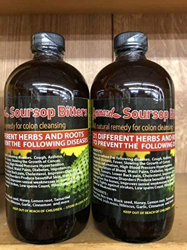 Amazon Com Soursop Bitters Natural Remedy For Colon Cleansing Pack Of 2 Brown 16 Oz Health Personal Care
