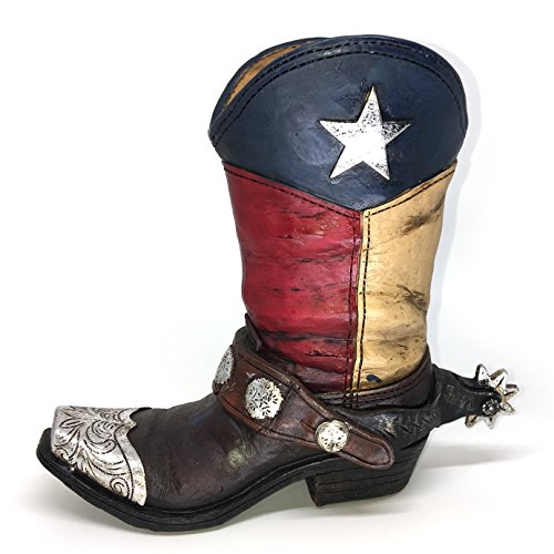 Texas Lone Star Cowboy Boot with Spur Small Vase Planter for Western Decor