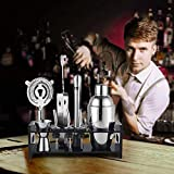10 Piece Stainless Steel Cocktail Shaker Kit Professional Cocktail Equipment Set Cocktail Making Kit Birthday,750ml