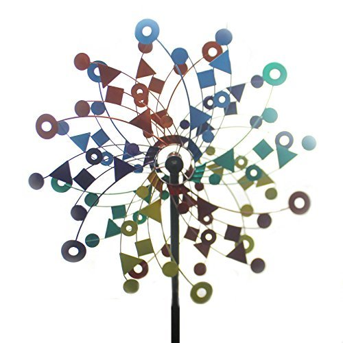 Home & Garden KINETIC RAINBOW GARDEN STAKE Metal Twirl Yard Decoration + 11084