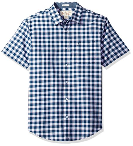 Original Penguin Men's Short Sleeve Uneven Gingham Shirt With Spade Pocket In Lawn, Dark Denim, (Cotton Lawn Short Sleeve Shirts)