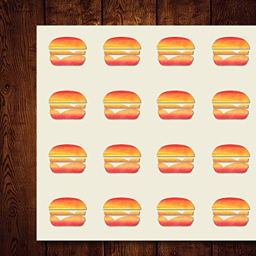 Cheeseburger Behaver School Meal Burger Craft Stickers, 44 Stickers at 1.5 inches, Great Shapes for Scrapbook, Party, Seals, DIY Projects, Item 261073