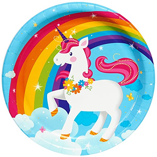 BirthdayExpress Fairytale Unicorn Party Supplies - Dinner Plates -