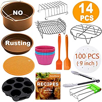 XL Air Fryer Accessories, Set of 14 for Gowise Phillips Cozyna Ninja 4.2/4.5/5.5/5.8/6.5 QT with Recipe Cookbook, Rust Proof 8 Cake Barrel, Pizza Pan, ...