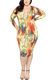 3eac8599c63 lexiart Plus Size Dress - Sexy Plus Size Bodycon Dresses African Party  Casual Midi Dress
