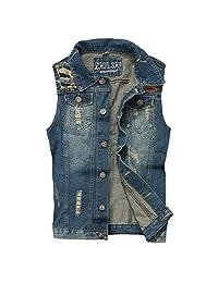 WCHUANG Men`s Retro Ripped Denim Jeans Vest Sleeveless Jacket