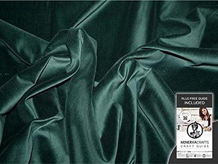 Terciopelo de algodón tela del vestido verde botella - 2 metros + libre Minerva manualidades por