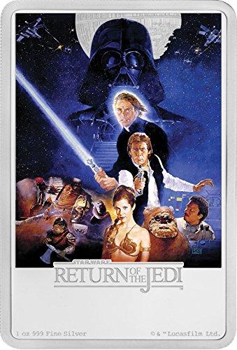 2017 NZ Niue 1 oz Silver $2 Star Wars Return of the Jedi Poster 1 OZ Brilliant Uncirculated