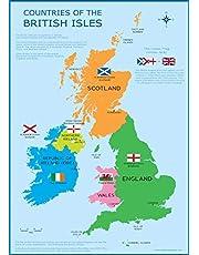 Wisdom Media  Großbritannien Karte–in Großbritannien Britischen Inseln Kinder Wand Diagramm Educational Kinder Poster Kunstdruck-Wandtafel