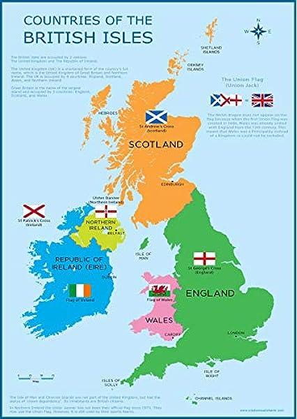 Wisdom Media Gran Bretaña mapa – UK British Isles – Póster educativo infantil gráfico de pared para niños: Amazon.es: Hogar