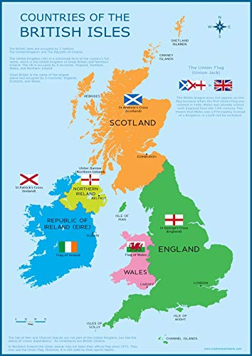 Map Of England And Britain.Wisdom Learning Great Britain Map Uk British Isles Childrens Wall Chart A3 30cm X 42cm Educational Childs Poster Art Print Wallchart