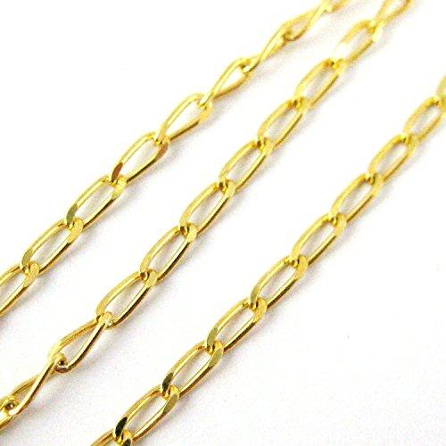 22k Gold Plated Over Sterling Silver Chain- Vermeil Bulk Chain - 2x4mm Diamond Cut Curb Link (3 Feet) ()