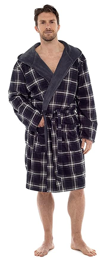 189abce600 Wolf   Harte Men s Check Print Flannel Lined Coral Fleece Hooded Bath Robe