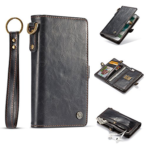 Samsung Galaxy S8 Plus Leather Wallet Magnetic Detachable Phone Case Flip Cover with Hand Straps, - Leather Phone Fire Case Wallet