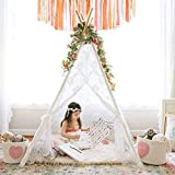 Teepee Tent for Girls, Sheer Lace Indoor and Outdoor Kids Canopy and Creative Play Space | Playroom...