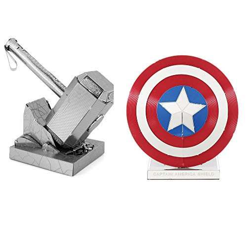 Fascinations Metal Earth 3D Model Kits Marvel Avengers Set of 2 Captain America's Shield & Thor's Hammer (Mjolnir) ()