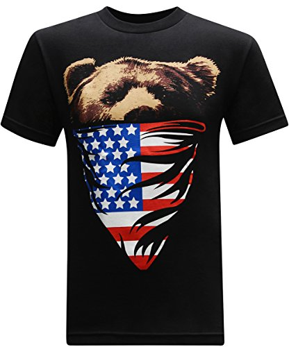 tees geek California Republic (American Flag Bandana Bear) Men's T-Shirt - (XX-Large) - Black Black Bear Print T-shirt