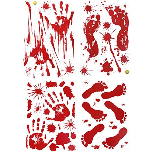 YuBoBo 60 PCS Halloween Decoration Removable Horror Bloody Handprints Footprints Decals Stickers, Halloween Vampire Zombie Party Décor -