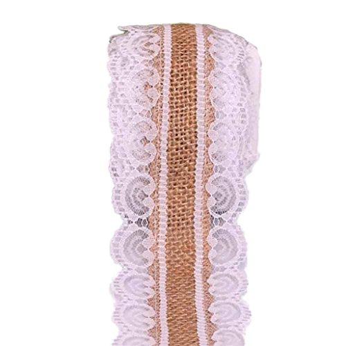 Gotd 16FT Vintage Natural Jute Burlap Hessian Ribbon lace Trim Table Wedding Decor (Khaki)