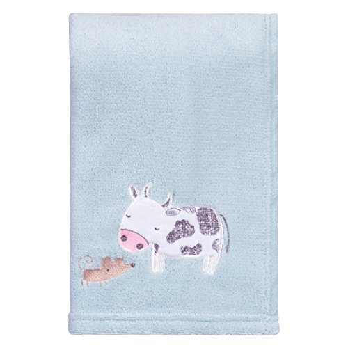 Trend Lab Farm Stack Plush Baby Blanket, Blue, Black, ()