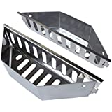 "New Larger Design- Stainless Steel Charcoal Basket- BBQ Grilling Accessories for Grills and 22"" Kettles- Heavy Duty Char-Basket for Briquette, Wood Chips- Charcoal Grill Accessories (Set of 2)"