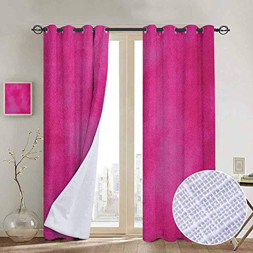 (NUOMANAN Blackout Curtains for Bedroom Hot Pink,Mottled Abstract Vibrant Colored Texture Image Vintage Artistic Warm Composition, Hot Pink,Darkening Grommet Window Curtain-1 Pair 52