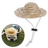 BUYITNOW Pet Sombrero Straw Hat Adjustable Hawaii Garden Sun Bucket Cap for Small Dogs Cats