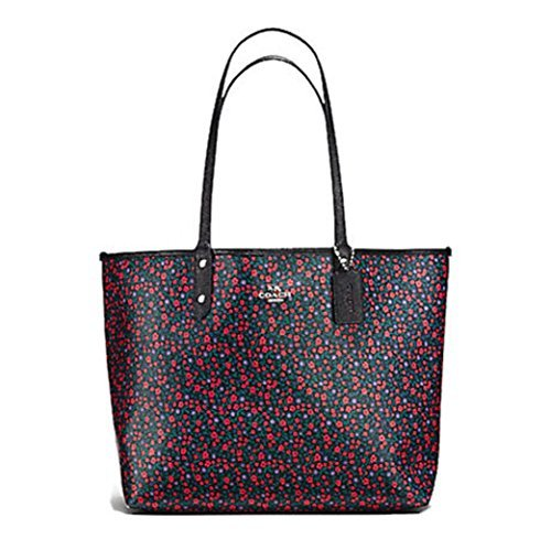 COACH REVERSIBLE SIGNATURE TOTE (Bright Red - Multicolor Coach Handbags