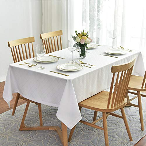 Maxmill Jacquard Poly-Cotton Tablecloth Geometric Pattern SpillProof, Water Resistant Wide Hem Heavy Weight Soft Table Cloth for Kitchen Dining Tabletop Decoration Rectangle, White, 58x84 Inch ()